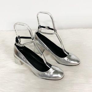 Rebecca Minkoff Silver Metallic Strappy Block Heel